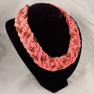 Multi-Strand Seed Bead Braided Necklace Collar